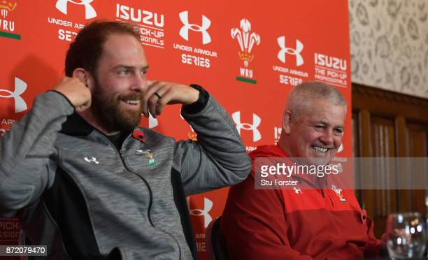 Wales Head coach Warren Gatland shares a joke with captain Alun Wyn Jones as they face the media during Wales Media access ahead of their game...