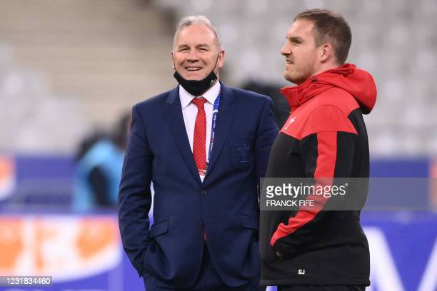 Wales' head coach Wayne Pivac speaks with Wales' defence coach Gethin Jenkins prior to the Six Nations rugby union tournament match between France...