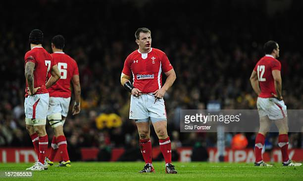 Wales hooker Matthew Rees looks on during the International match between Australia and Wales at Millennium Stadium on December 1 2012 in Cardiff...