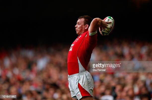 Wales hooker Matthew Rees prepares to throw the ball in during the International Friendly match between Wales and South Africa at Millennium Stadium...