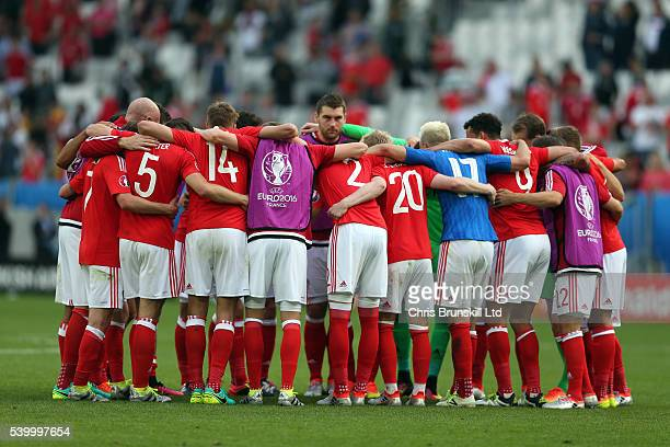 Wales huddle together at full-time following the UEFA Euro 2016 Group B match between Wales and Slovakia at Nouveau Stade de Bordeaux on June 11,...