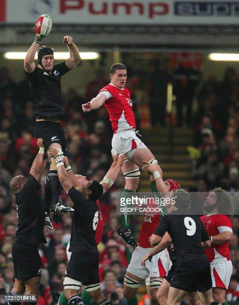 Wales' Ian Evans is beaten in the line out by All Blacks' Ali Williams during the Invesco Challenge rugby union internatonal match between Wales and...