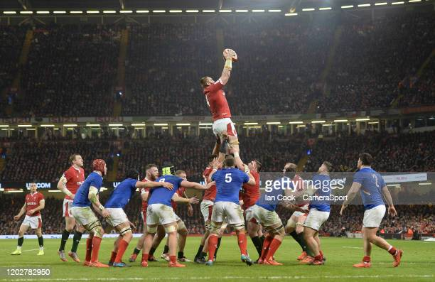 Wales Jake Ball claims the line out during the 2020 Guinness Six Nations match between Wales and France at Principality Stadium on February 22 2020...