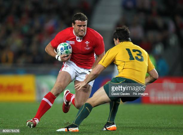 Wales' Jamie Roberts and Australia's Adam AshleyCooper in action