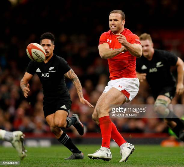 Wales' Jamie Roberts releases the ball during the Autumn international rugby union Test match between Wales and New Zealand at the Principality...