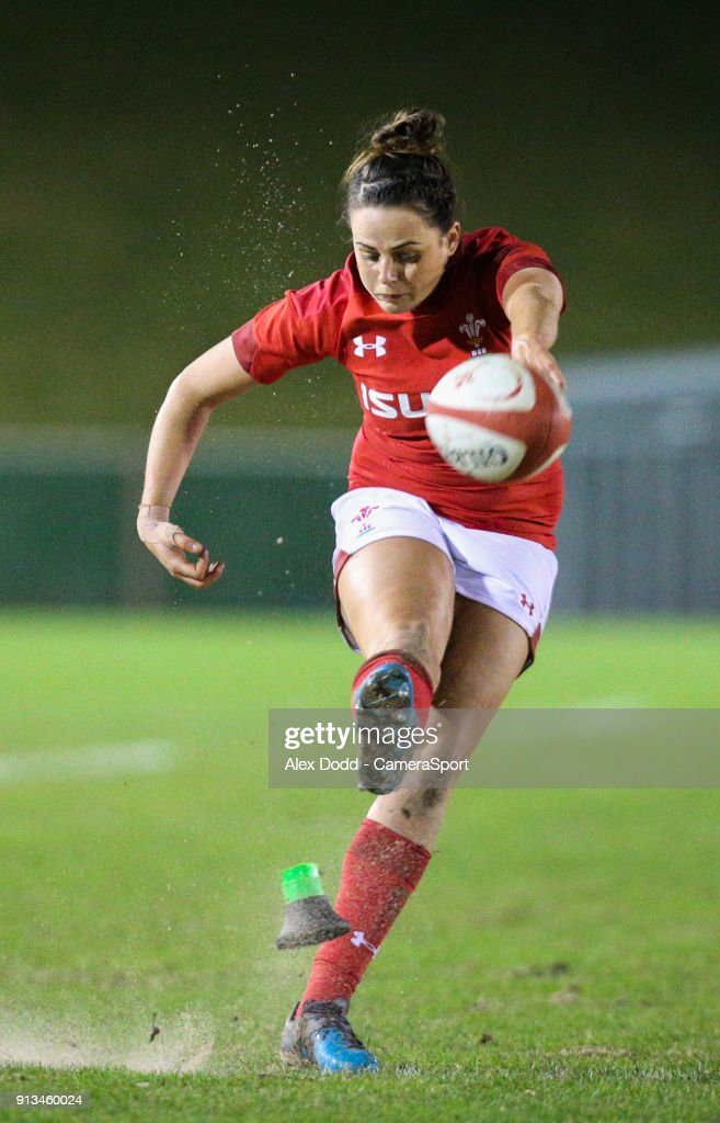 Wales' Jodie Evans kicks at goal during the Women's Six Nations Championships Round 1 match between Wales Women and Scotland Women at Eirias Stadium on February 2, 2018 in Colwyn Bay, Wales.
