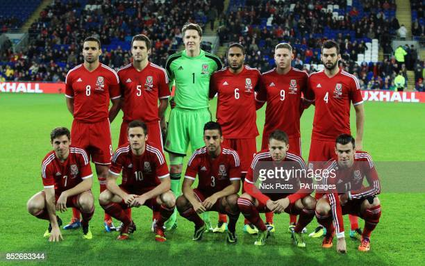 Wales Joe Allen Andy King Neil Taylor Chris Gunter and Gareth Bale Hal RobsonKanu Sam Ricketts Wayne Hennessey Ashley Williams Simon Church and Joe...