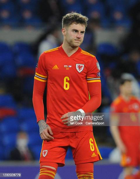 Wales Joe Rodon during the FIFA World Cup 2022 Qatar qualifying match between Wales and Czech Republic at Cardiff City Stadium on March 30, 2021 in...