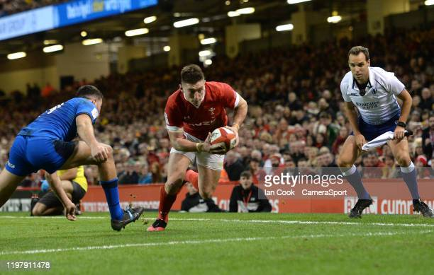 Wales Josh Adams goes on to score Wales 2nd Try during the 2020 Guinness Six Nations match between Wales and Italy at Principality Stadium on...