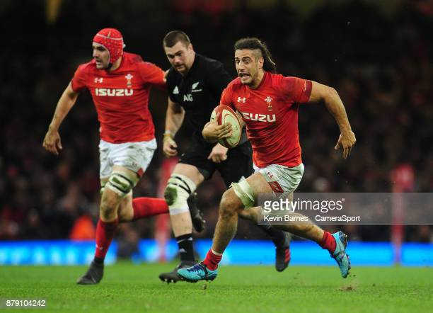 Wales' Josh Navidi breaks through during the 2017 Under Armour Series Autumn International match between Wales and New Zealand at Principality...
