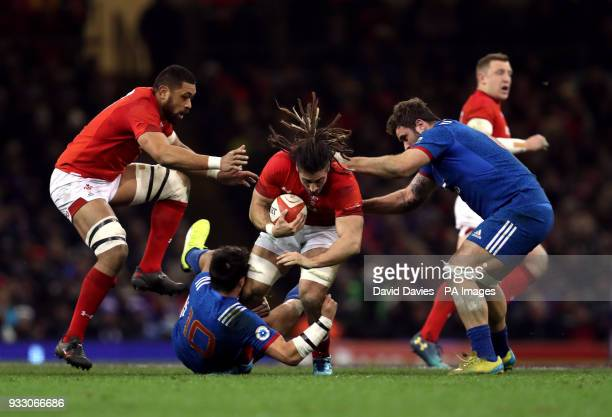 Wales' Josh Navidi is tackled by France's Francois TrinhDuc during the NatWest 6 Nations match at the Principality Stadium Cardiff