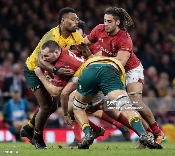 Wales' Ken Owens is tackled by Australia's Adam Coleman during the 2017 Under Armour Series match between Wales and Australia at Principality Stadium...