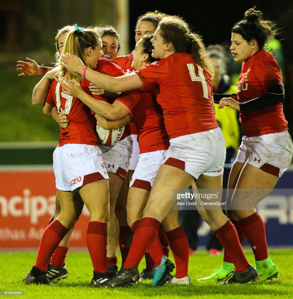 Wales' Kerin Lake celebrates with teammates after scoring a try during the Women's Six Nations Championships Round 1 match between Wales Women and Scotland Women at Eirias Stadium on February 2, 2018 in Colwyn Bay, Wales.
