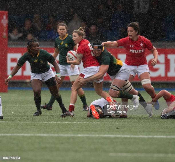 Wales Kiera Bevan in action during Wales Women v South Africa Women Autumn Internationals at Cardiff Arms Park Cardiff United Kingdom Wales defeated...