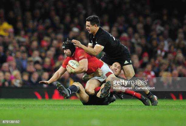 Wales' Leigh Halfpenny is tackled by New Zealand's Sonny Bill Williams during the 2017 Under Armour Series Autumn International match between Wales...