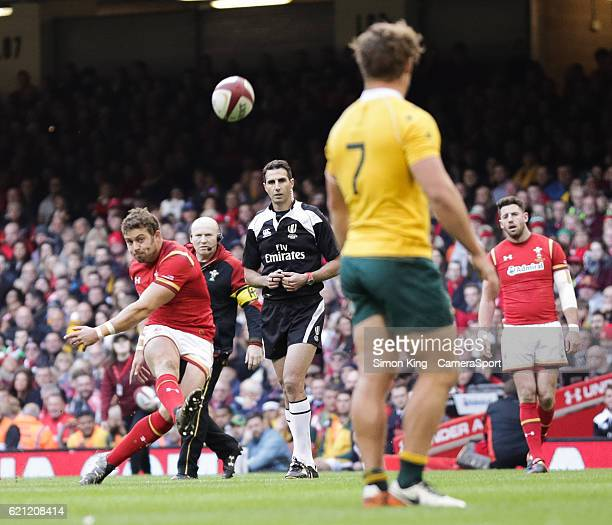 Wales' Leigh Halfpenny kicks a penalty during the Autumn International match between Wales and Australia at Principality Stadium on November 5, 2016...