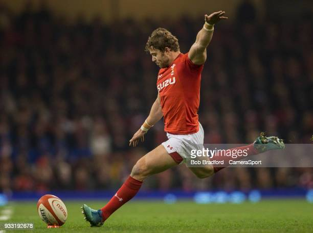 Wales' Leigh Halfpenny kicks a penalty during the NatWest Six Nations Championship match between Wales and France at Principality Stadium on March 17...