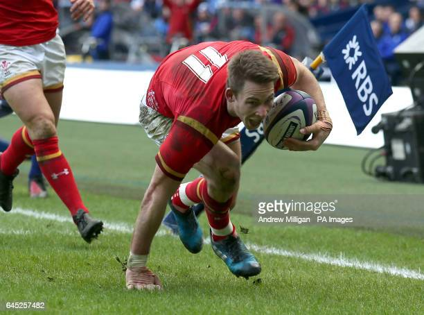 Wales' Liam Williams celebrates scoring a try during the RBS 6 Nations match at BT Murrayfield Edinburgh