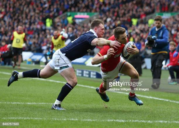 Wales' Liam Williams on his way to scoring a try during the RBS 6 Nations match at BT Murrayfield Edinburgh