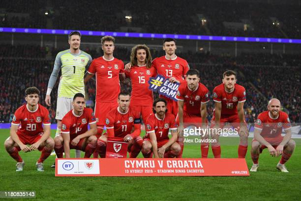 Wales line up ahead of the UEFA Euro 2020 qualifier between Wales and Croatia at Cardiff City Stadium on October 13, 2019 in Cardiff, Wales.