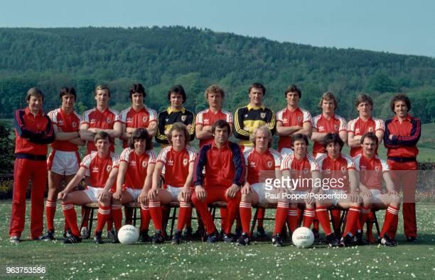 Wales line up for a group photo circa May 1980 Back row Graham Jones Ian Rush Joey Jones Keith Pontin Martin Thomas Paul Price Dai Davies David Jones...