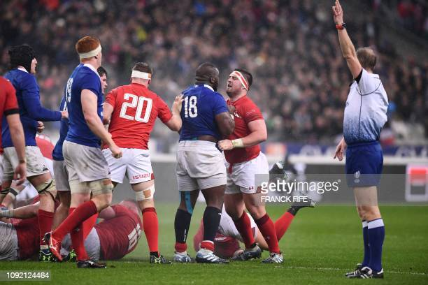 Wales' lock Alun Wyn Jones argues with France's prop Demba Bamba during the Six Nations rugby union tournament match between France and Wales at the...