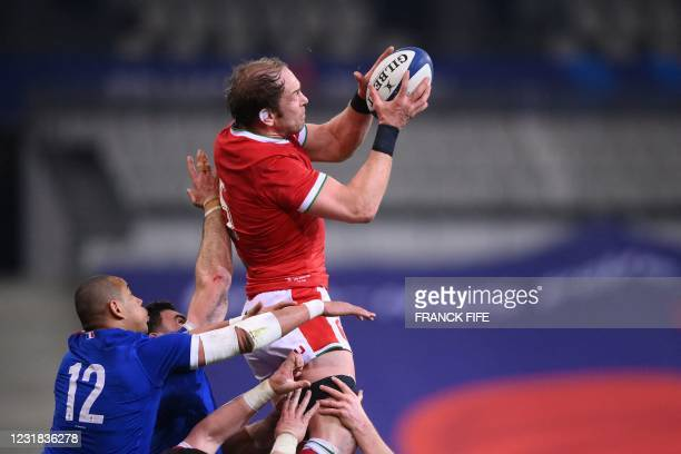 Wales' lock Alun Wyn Jones catches the ball in a line out during the Six Nations rugby union tournament match between France and Wales on March 20 at...