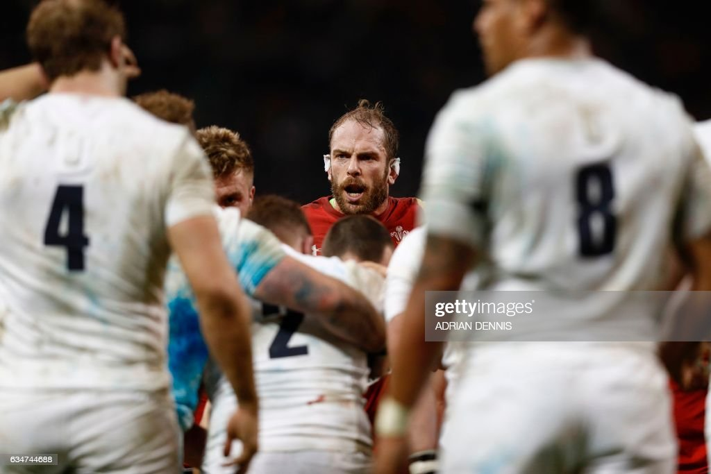 TOPSHOT - Wales' lock Alun Wyn Jones (C) is seen during the Six Nations international rugby union match between Wales and England at the Principality Stadium in Cardiff, south Wales, on February 11, 2017. / AFP PHOTO / Adrian DENNIS / RESTRICTED TO EDITORIAL USE. Use in books subject to Welsh Rugby Union (WRU) approval.