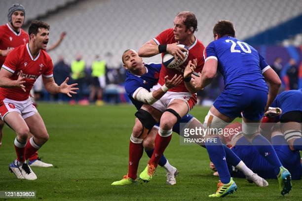 Wales' lock Alun Wyn Jones is tackled by France's centre Gael Fickou during the Six Nations rugby union tournament match between France and Wales on...