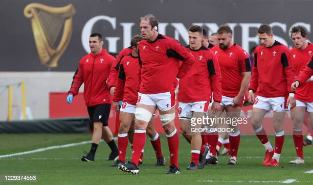 Wales' lock Alun Wyn Jones leads the team after the warm up ahead of the 2020 Six Nations Championship rugby union match between Wales and Scotland...