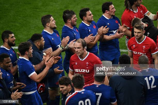 Wales' lock Alun Wyn Jones reacts after losing the Six Nations rugby union tournament match between France and Wales on March 20 at the Stade de...