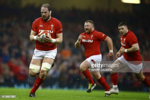 Wales' lock Alun Wyn Jones runs with the ball during the Six Nations international rugby union match between Wales and Scotland at the Principality...