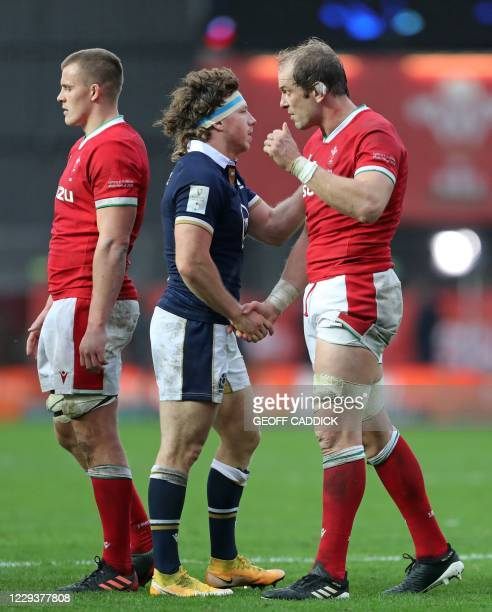 Wales' lock Alun Wyn Jones shakes hand with Scotland's flanker Hamish Watson during the 2020 Six Nations Championship rugby union match between Wales...