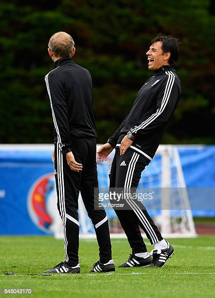Wales manager Chris Coleman and coach Paul Trollope enjoy themselves during Wales training ahead of their UEFA Euro 2016 Semi final against Portugal...