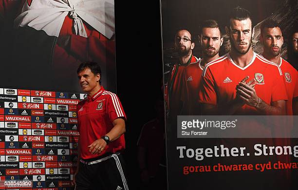 Wales manager Chris Coleman faces the media at a press conference at the Wales Euro 2016 press centre on June 7, 2016 in Dinard, France.
