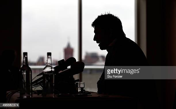 Wales manager Chris Coleman faces the media at a press conference ahead of the friendly international against the Netherlands at St David's Hotel on...