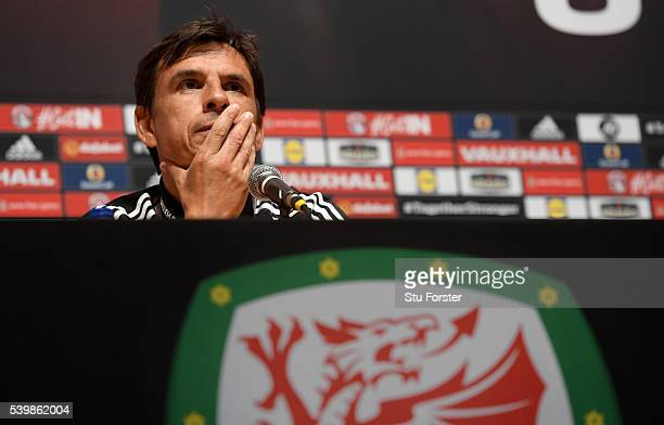 Wales manager Chris Coleman faces the media during a Wales press conference at their Euro 2016 base camp on June 13, 2016 in Dinard, France.
