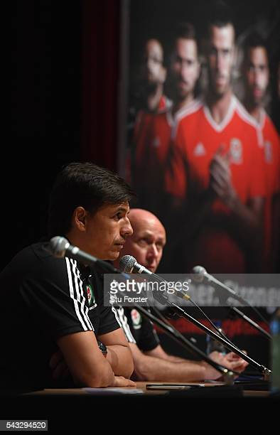 Wales manager Chris Coleman faces the media during a Wales press conference at their Dinard base camp ahead of their Euro 2016 match against Belguim...