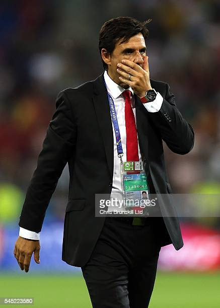 Wales manager Chris Coleman looks dejected following the UEFA Euro 2016 Semi Final match between Portugal and Wales at Stade de Lyon on July 06 2016...