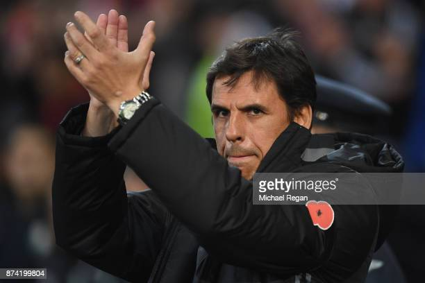 Wales manager Chris Coleman looks on before the International match between Wales and Panama at Cardiff City Stadium on November 14 2017 in Cardiff...