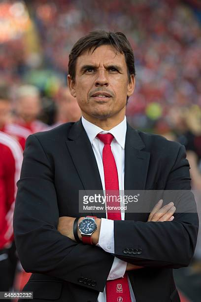 Wales manager Chris Coleman looks on during a ceremony at the Cardiff City Stadium on July 8 2016 in Cardiff Wales The players toured the streets of...