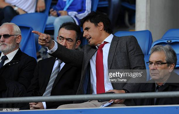 Wales Manager Chris Coleman looks on during the Sky Bet Championship match between Cardiff City and Huddersfield at Cardiff City Stadium on September...