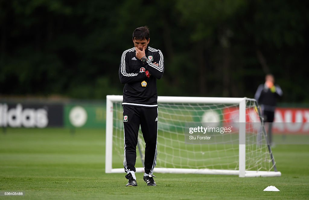 Wales manager Chris Coleman looks on during Wales training at the Vale hotel complex on June 1, 2016 in Cardiff, Wales.