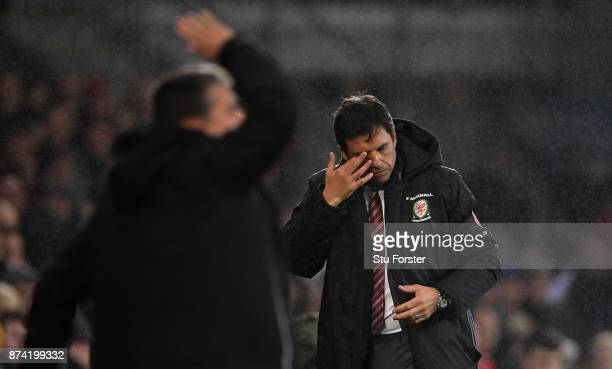 Wales manager Chris Coleman reacts during the International Friendly match between Wales and Panama at Cardiff City Stadium on November 14 2017 in...