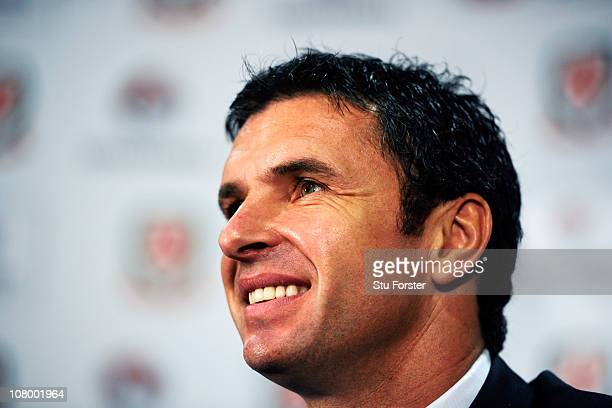 Wales manager Gary Speed faces the press at the launch of the announcment of Vauxhall as the new team sponsor at Cardiff City Stadium on January 12...