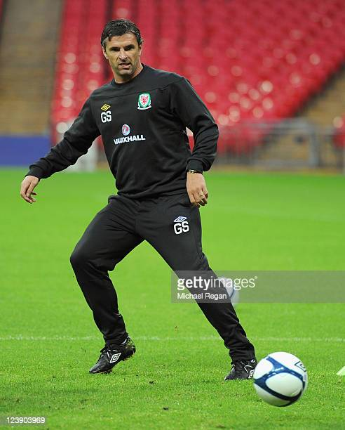 Wales manager Gary Speed in action during the Wales training session ahead of their UEFA EURO 2012 Group G qualifier against England at Wembley...