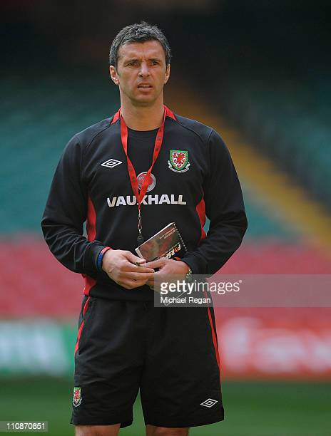 Wales manager Gary Speed looks on during the Wales training session ahead of their UEFA EURO 2012 qualifier against England on March 25 2011 in...
