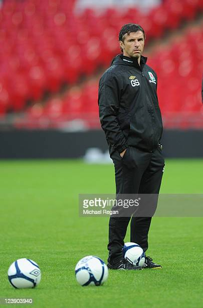 Wales manager Gary Speed looks on during the Wales training session ahead of their UEFA EURO 2012 Group G qualifier against England at Wembley...