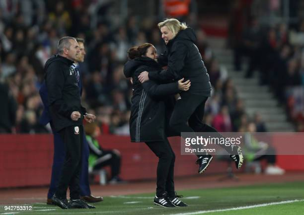 Wales manager Jayne Ludlow celebrates at the end of the Women's World Cup Qualifier match between England and Wales at St Mary's Stadium on April 6,...