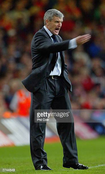 Wales manager Mark Hughes during the Euro 2004 playoff second leg match between Wales and Russia at The Millennium Stadium on November 19 2003 in...